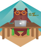 A bear with laptop