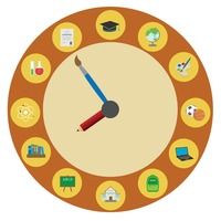 A clock with various education icons