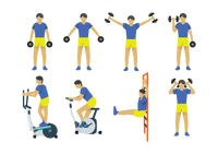A collection of a man working out