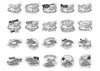A collection of pizza and pasta menu titles
