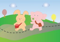 A rabbit and an elephant walking together