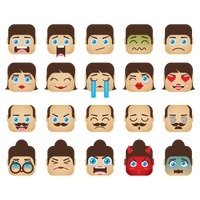 A set of family emoticon showing various facial expressions