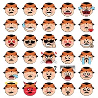 A set of man emoticon showing various facial expressions