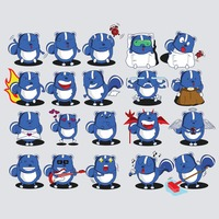 A set of squirrel emoticon with various actions and emotions
