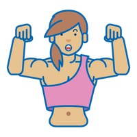 A woman showing her muscular body