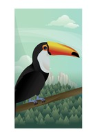 Abstract toco toucan on forest background