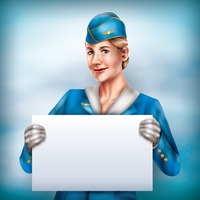 Air hostess holding placard