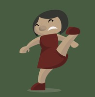 Angry woman kicking