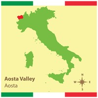 Aosta valley on italy map