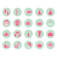 Assorted spa icon set