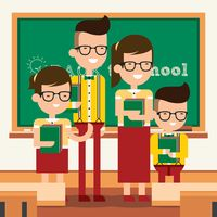 Back to school concept with family in classroom