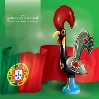 Barcelos rooster with portugal flag
