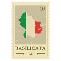 Basilicata map postage stamp