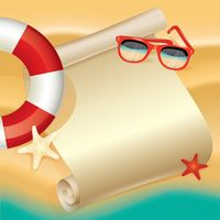 Beach design with lifebuoy and sunglasses