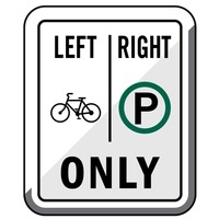 Bike right parking only road sign