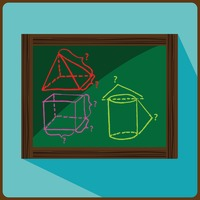 Blackboard with geometry equation