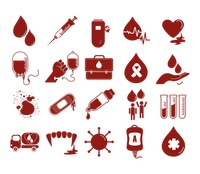 Blood transfusion icons collection