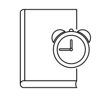 Book with alarm icon