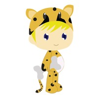 Boy in cheetah costume on white background