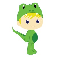 Boy in crocodile costume on white background