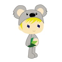 Boy in koala bear costume on white background