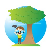 Boy with speech bubble standing under tree