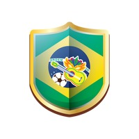 Brazil badge with guitar football and carnival mask