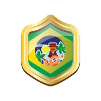 Brazil badge with musician