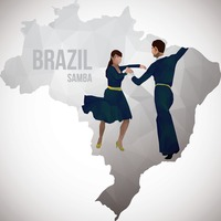 Brazil map with samba dancers