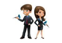 Businessman and businesswoman holding dart