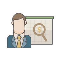 Businessman and magnifier with dollar