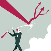 Businessman hitting decline arrow