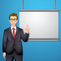 Businessman with projector screen