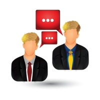 Businessmen with speech bubble