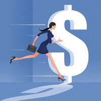 Businesswoman chasing dollar symbol