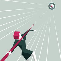 Businesswoman throwing arrow