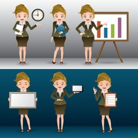 Businesswoman with different activities collection
