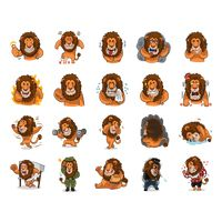 Cartoon lion expressions pack