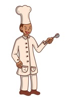 Chef holding ladle