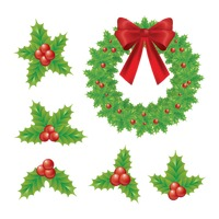 Christmas wreath and holly berry set