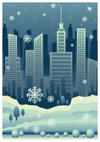 Cityscape poster with snowfall