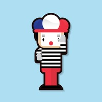 Clown with french flag cap