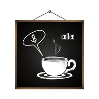 Coffee with dollar sign in speech bubble