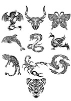 Collection of animals tattoos