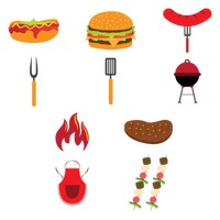 Collection of barbecue icons