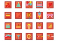 Collection of birthday celebration icons