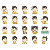 Collection of boy with expression stickers