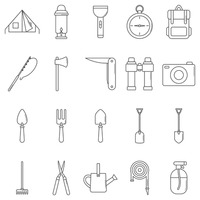 Collection of camping and gardening icons