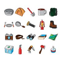 Collection of camping equipment
