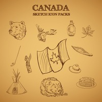 Collection of canada sketch icon packs